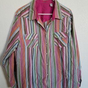 2x multi color long sleeve shirt woman